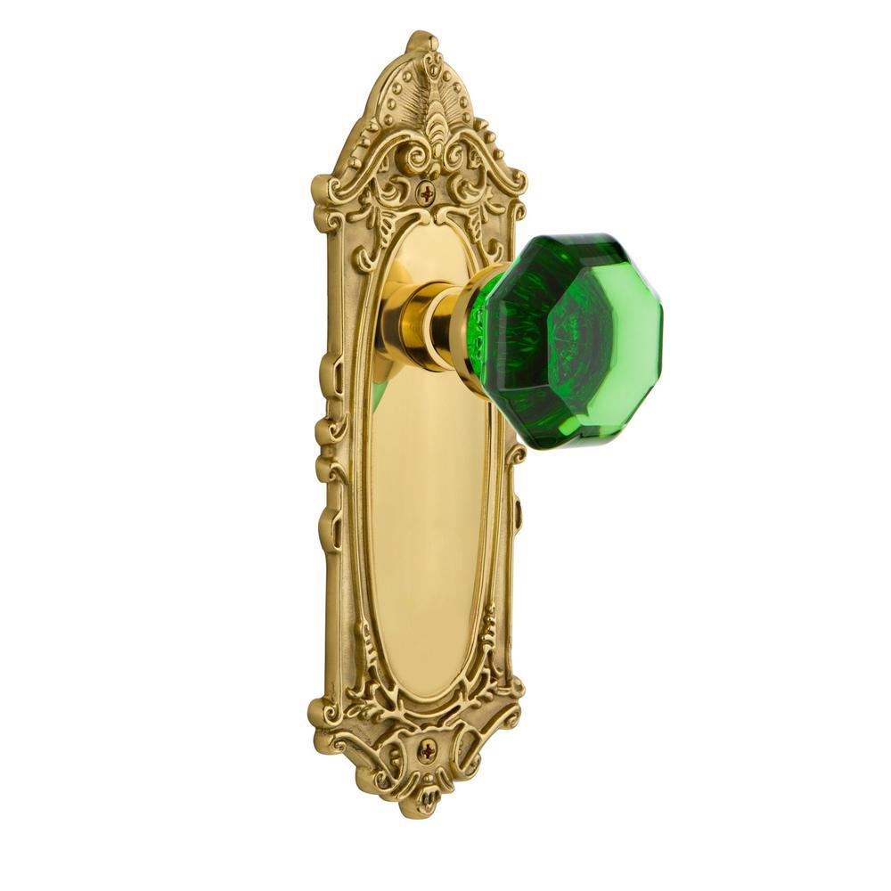 Delicieux Nostalgic Warehouse Victorian Plate Double Dummy Waldorf Emerald Door Knob  In Unlaquered Brass