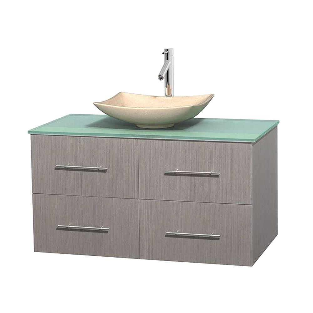 Wyndham Collection Centra 42 in. Vanity in Gray Oak with Glass Vanity Top in Green and Sink