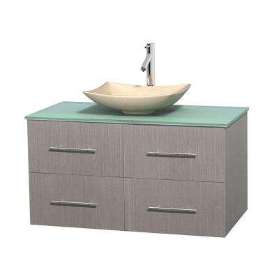 Centra 42 in. Vanity in Gray Oak with Glass Vanity Top in Green and Sink