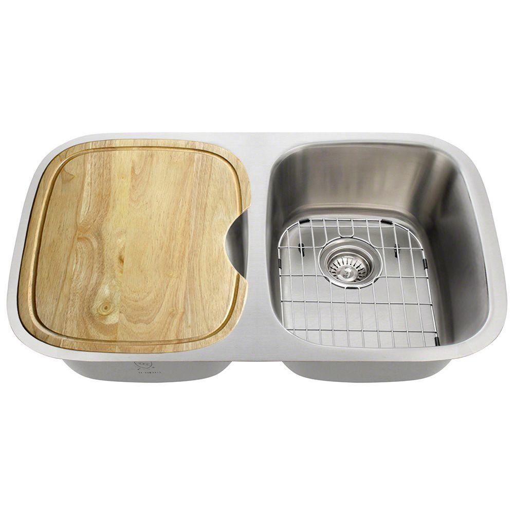 Polaris sinks all in one undermount stainless steel 29 in double bowl kitchen sink p015 16 ens - Kitchen sink specifications ...