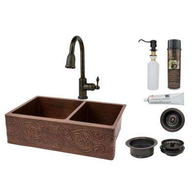 All-in-One Scroll Dual Mount Hammered Copper 33 in. 60/40 Double Bowl Kitchen Sink with Faucet and ORB
