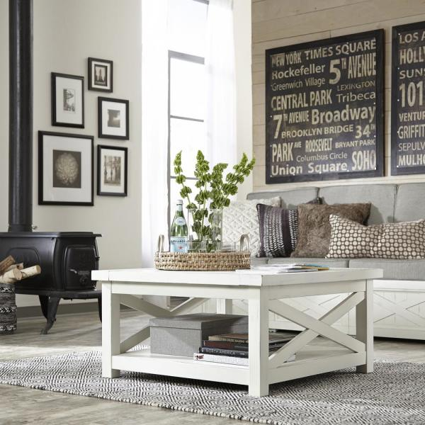 Home Styles Seaside Lodge Hand Rubbed White Coffee Table