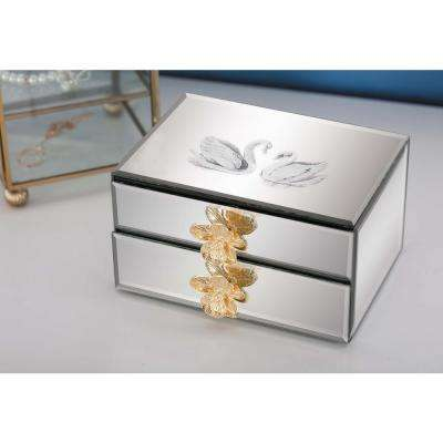 Jewelry Box with Reflective Mirror Panels and Swan Accents