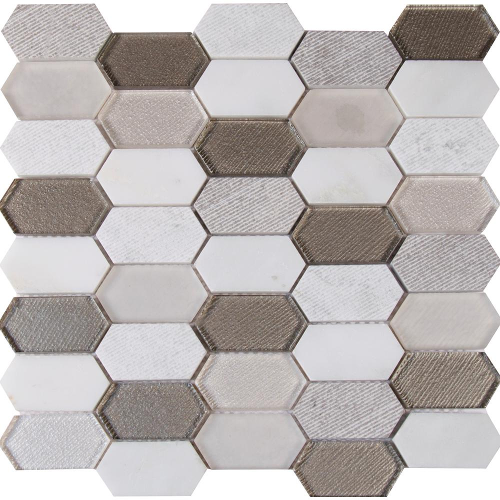 MSI Inessa Blanco Picket Pattern 12 in. x 12 in. x 8 mm Glass and Stone Mesh-Mounted Mosaic Tile