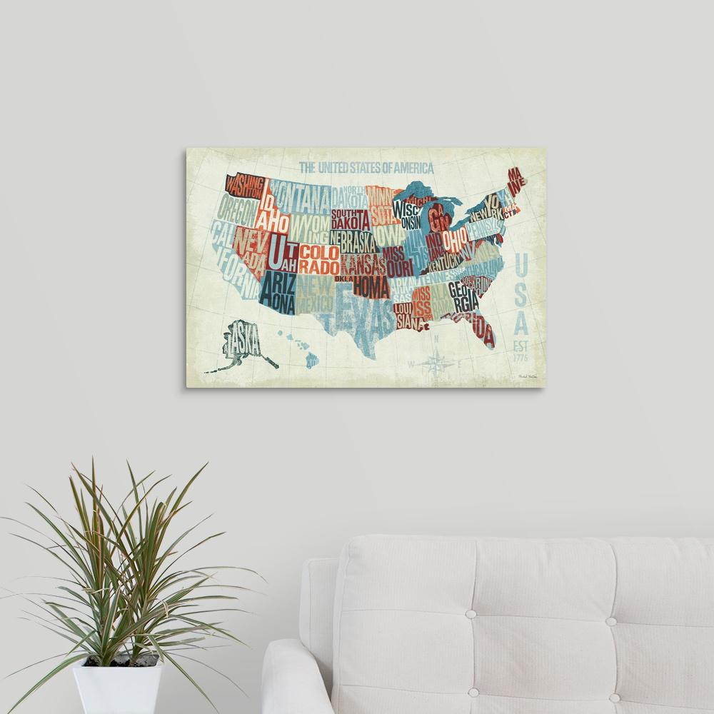 Modern Us Map.Greatbigcanvas Usa Modern Blue By Michael Mullan Canvas Wall Art