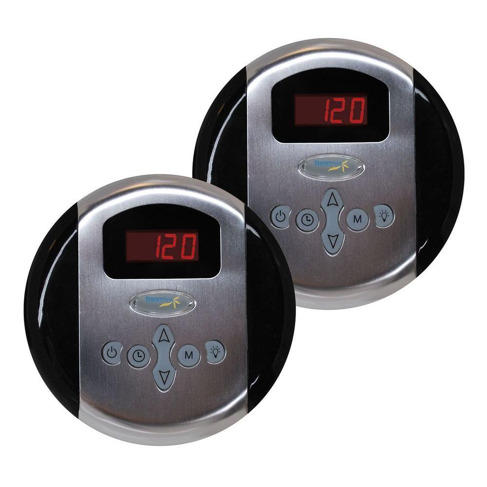 SteamSpa Programmable Steam Bath Generator Dual Control Panels in Brushed Nickel by SteamSpa