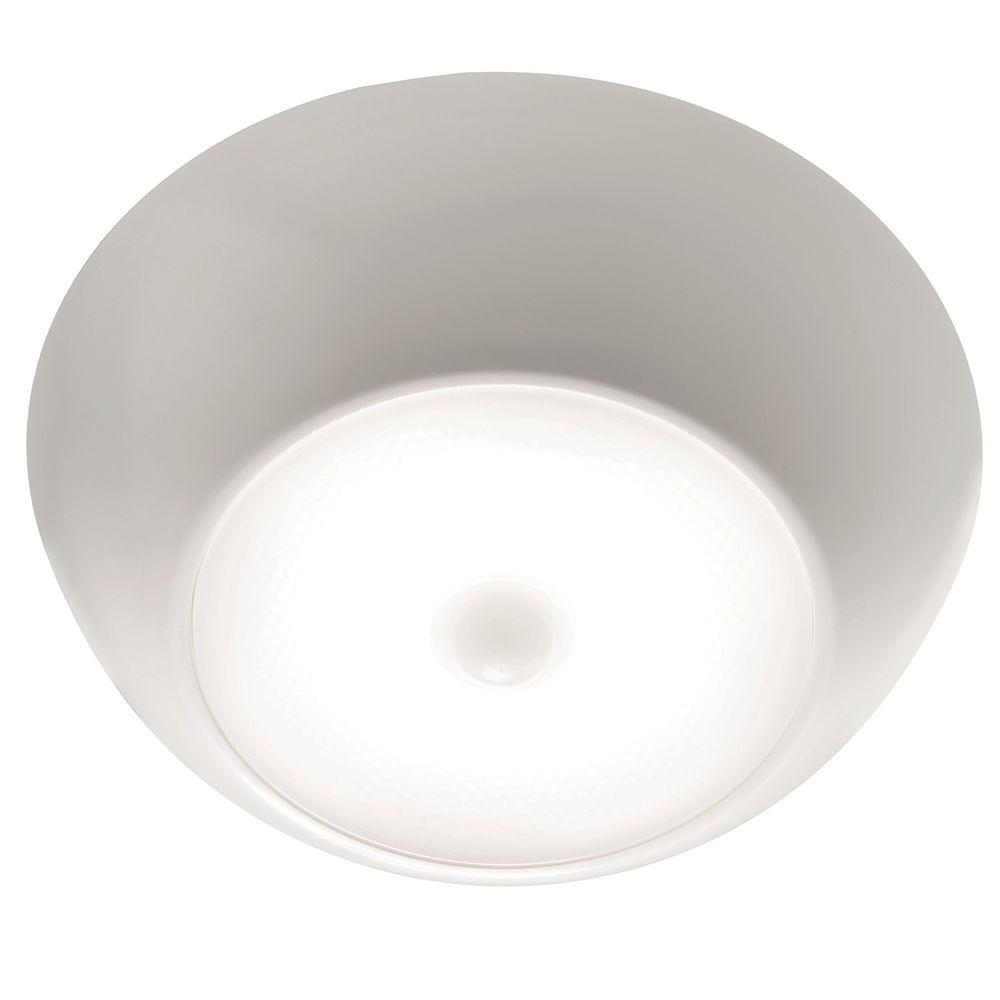 Mr Beams UltraBright Motion Activated 300 Lumen Battery Operated LED  Ceiling Light MB990 WHT 01   The Home Depot