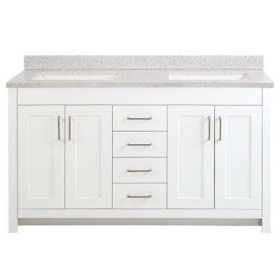 Westcourt 61 in. W x 22 in. D Bath Vanity in White with Solid Surface Vanity Top in Silver Ash with White Sink