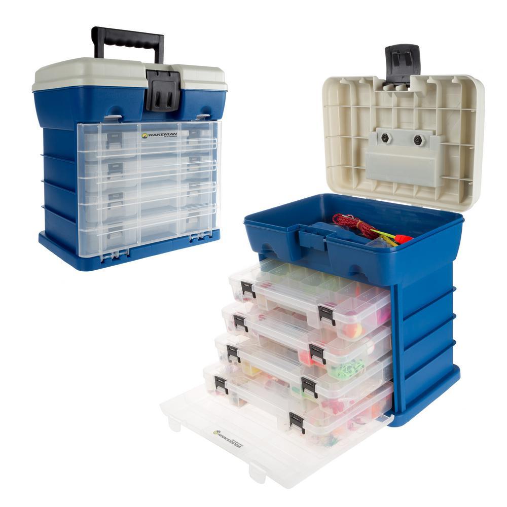 4-Drawer Dark Blue Camping and Fishing Storage Tool Box