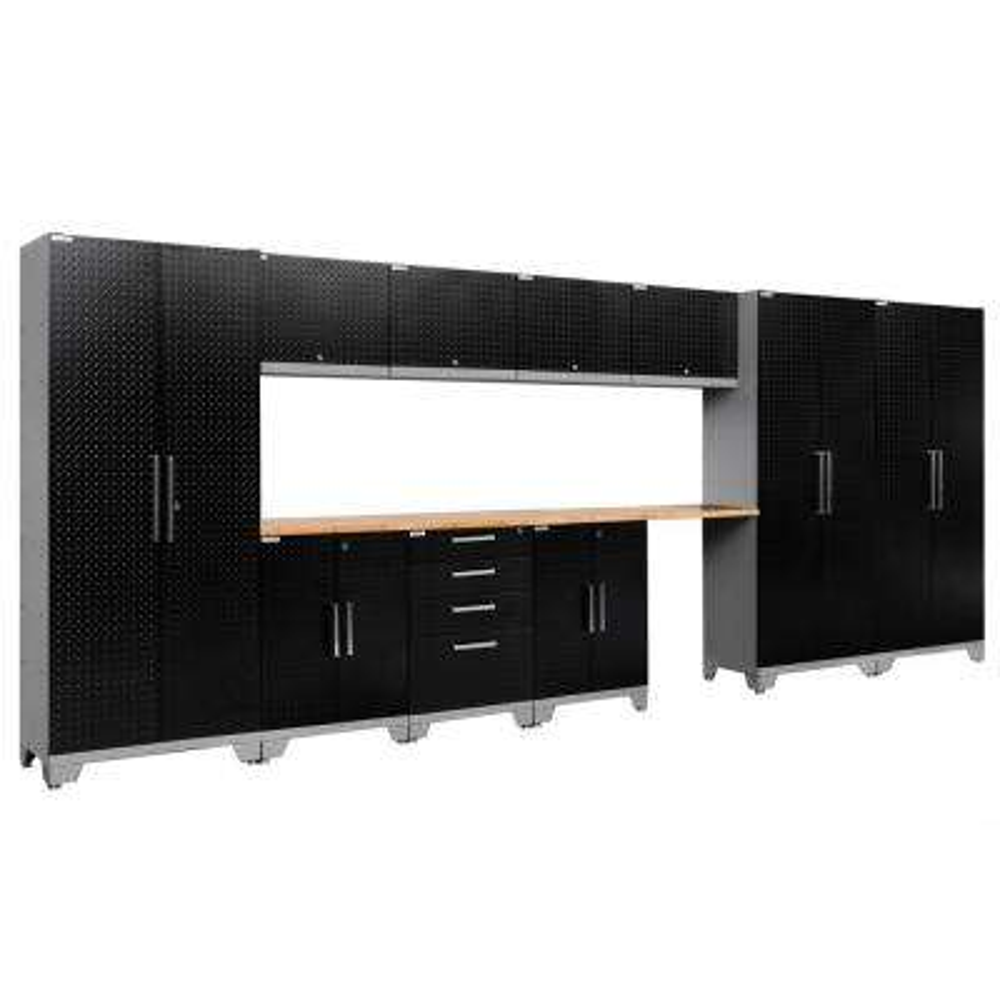 Performance Diamond Plate 2.0 72 in. H x 186 in. W x 18 in. D Garage Cabinet Set in Black (12-Piece)