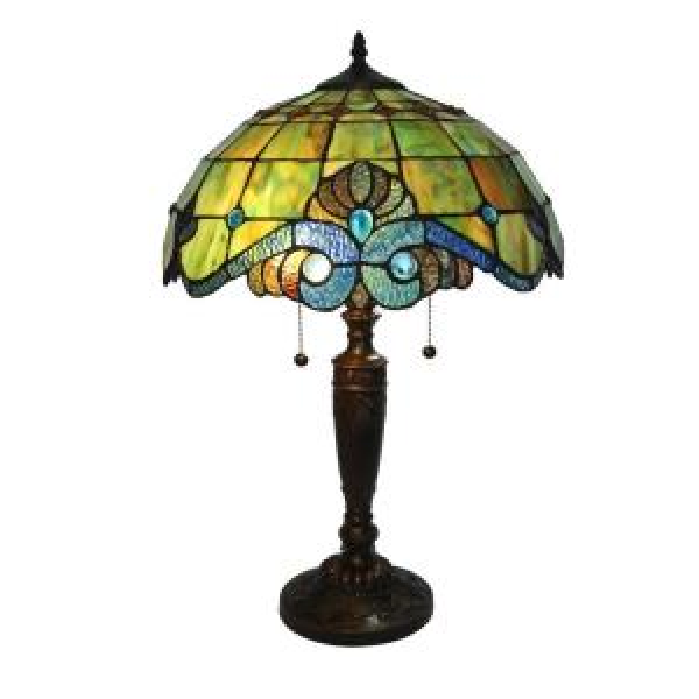 Serena D'italia Tiffany Pearl 25 inch Bronze Vintage Table Lamp by Serena D'italia