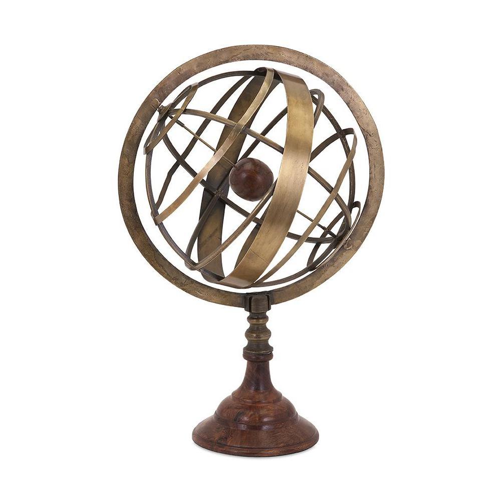 12.5 in. x 19 in. Bronze Sheesham Wood and Iron Armillary Globe