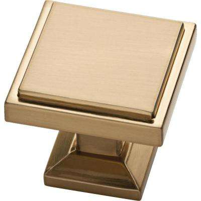Classic Square 1-1/9 in. (28 mm) Champagne Bronze Cabinet Knob (25-Pack)