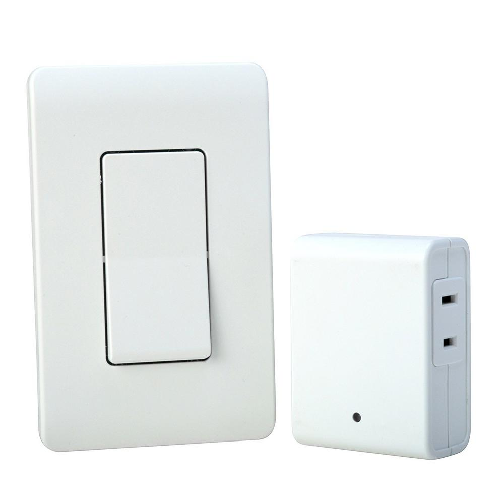 8 Amp Indoor Plug In Wireless Wall Switch Light Control, White