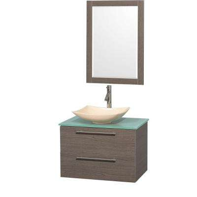 Amare 30 in. Vanity in Gray Oak with Glass Vanity Top in Green, Marble Sink and 24 in. Mirror