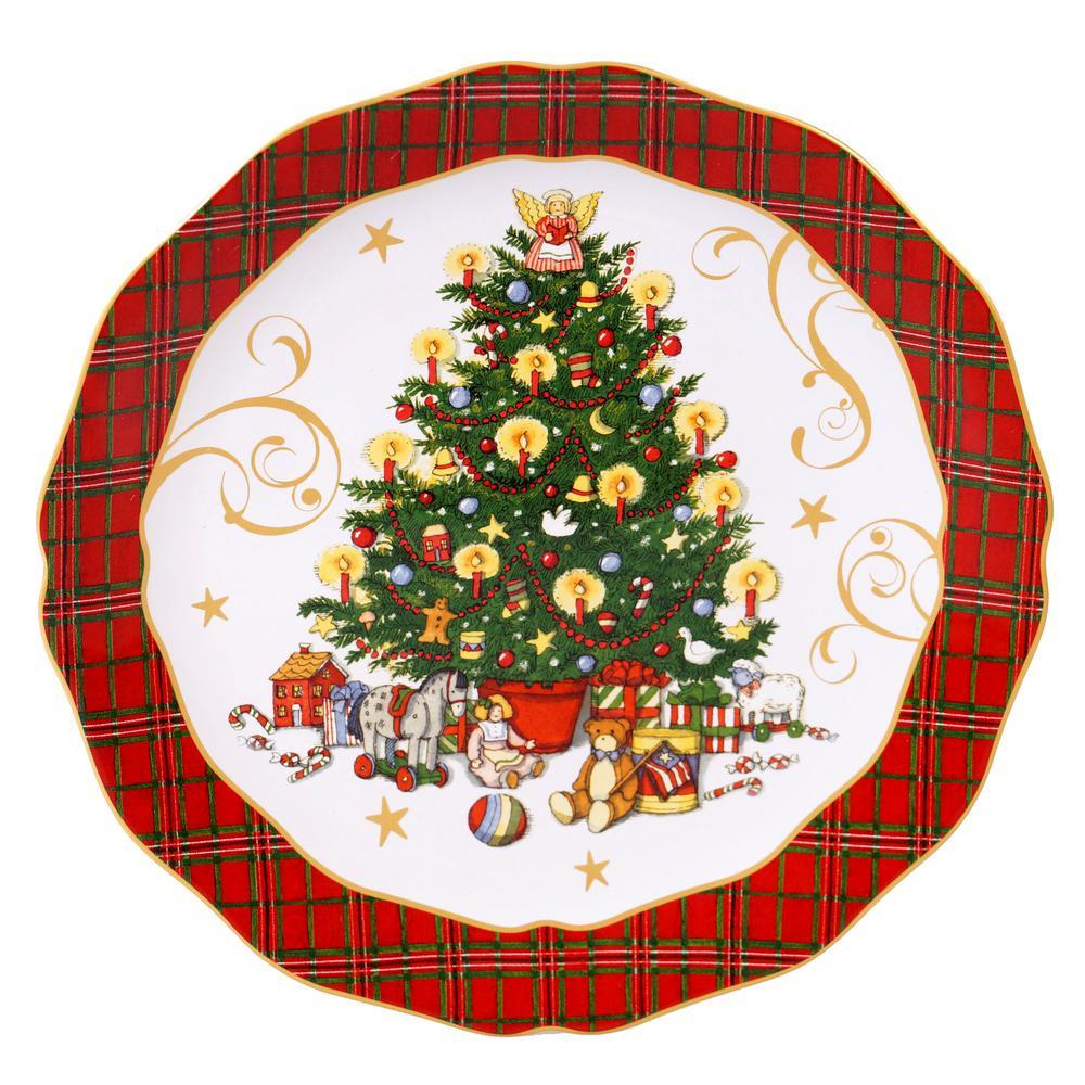 Vintage Santa Multi-Colored 13 in. Earthenware Round Platter