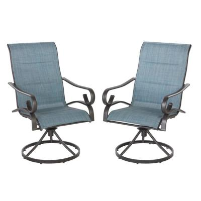 Crestridge Padded Sling Swivel Outdoor Lounge Chair in Conley Denim (2-Pack)