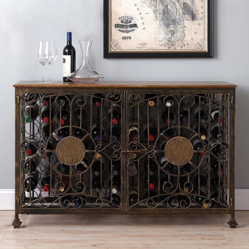 84-Bottle Antiqued Wine Jail Console