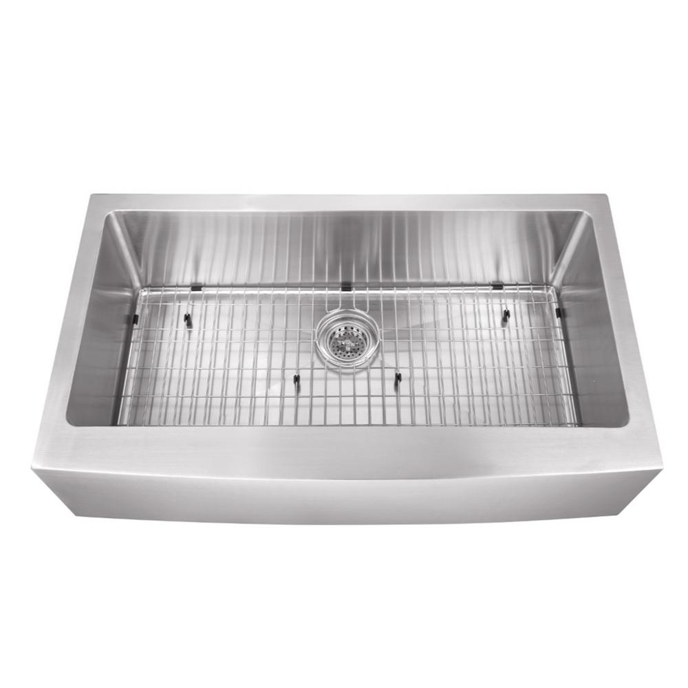Farmhouse Apron Front Stainless Steel 32-7/8 in. Single Bowl Kitchen Sink