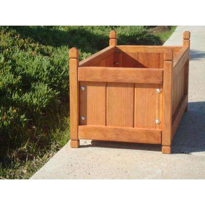 Garden 24 in. x 24 in. x 24 in. 1905 Super Deck Finished Redwood Solid Planter Box