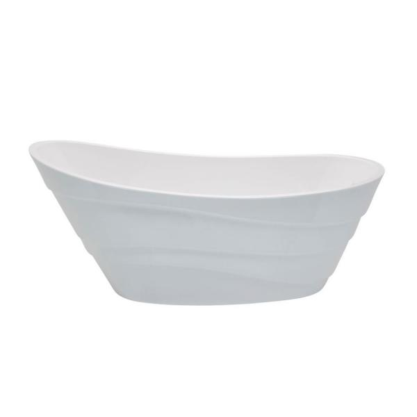 ANZZI Stratus 5.6 ft. Acrylic Reversible Drain Freestanding Bathtub in Glossy White