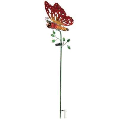 41 in. Orange Butterfly Solar Stake