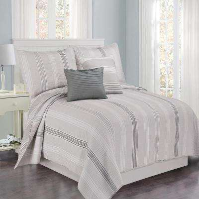 Sanibel Stripe 4 piece Gray King Cotton Quilt Set