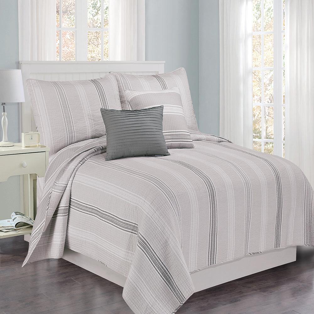 Sanibel Stripe 4 piece Gray King Cotton Quilt Set
