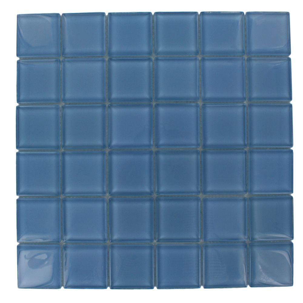 Splashback Tile 12 in. x 12 in. Contempo Aquarium Blue Polished Glass Tile