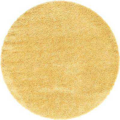 Davos Shag Sunglow Yellow 6 ft. x 6 ft. Round Area Rug
