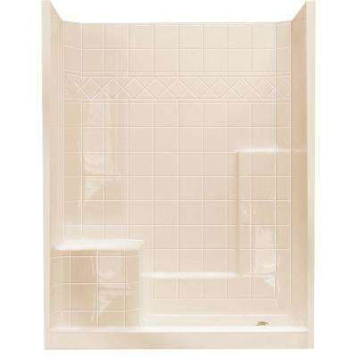32 in. x 60 in. x 77 in. Standard Low Threshold 3-Piece Shower Kit in Bone with Left Seat and Right Drain