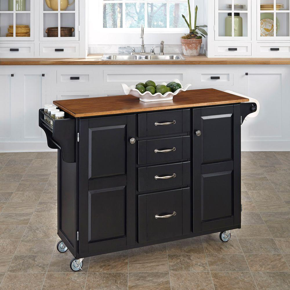 Create-a-Cart Black Kitchen Cart With Towel Bar