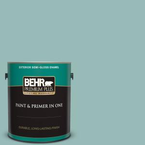 Behr Premium Plus 1 Gal Ppu12 06 Lap Pool Blue Semi Gloss Enamel Exterior Paint And Primer In One 540001 The Home Depot