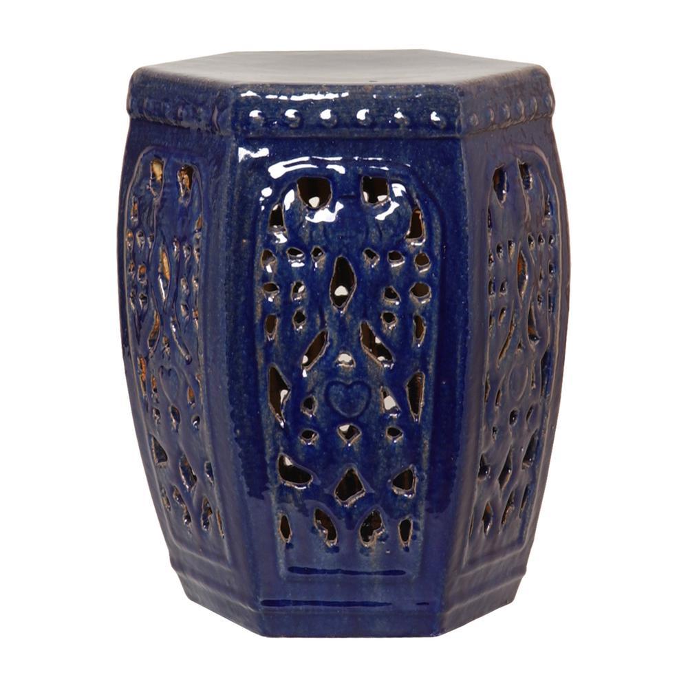 Lattice Hex Blue Ceramic Garden Stool