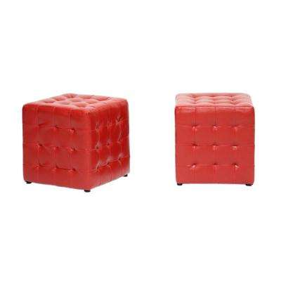 Siskal Red Accent Ottoman (Set of 2)