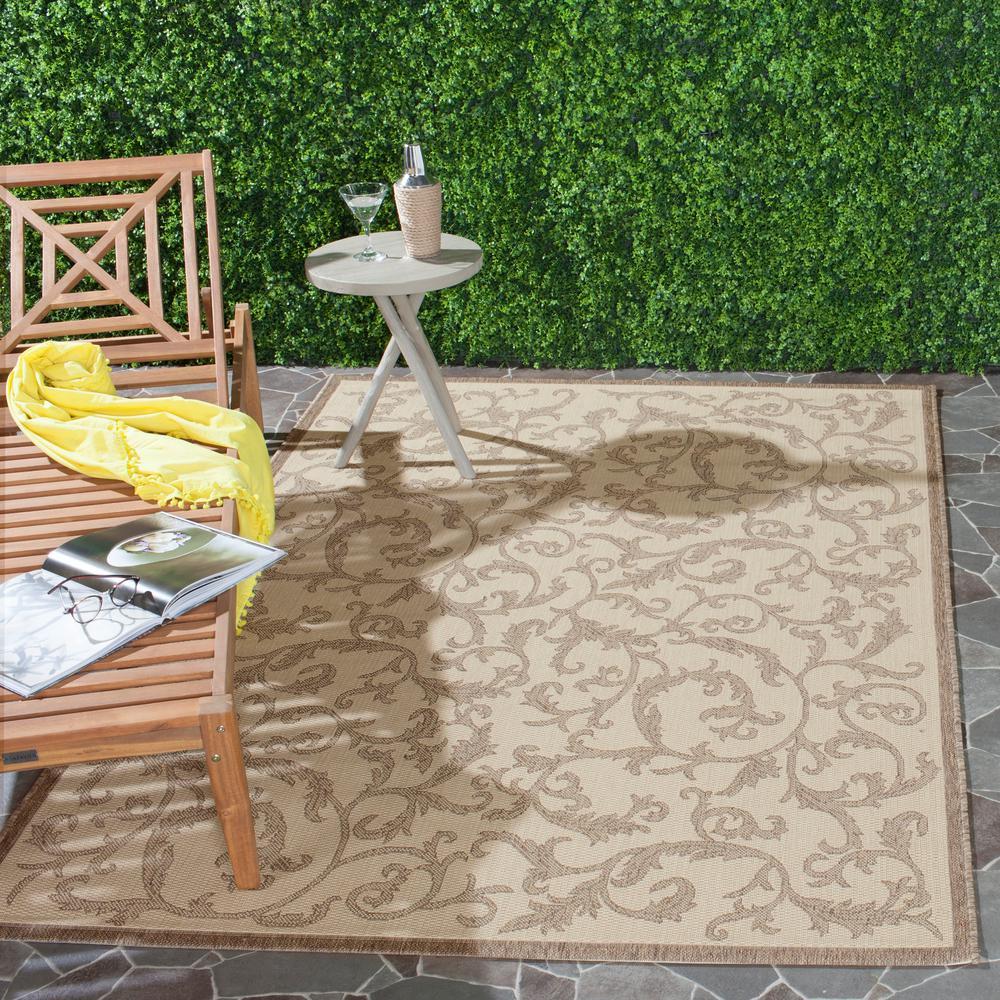 Safavieh Courtyard Natural/Brown 9 ft. x 12 ft. Indoor/Outdoor Area Rug