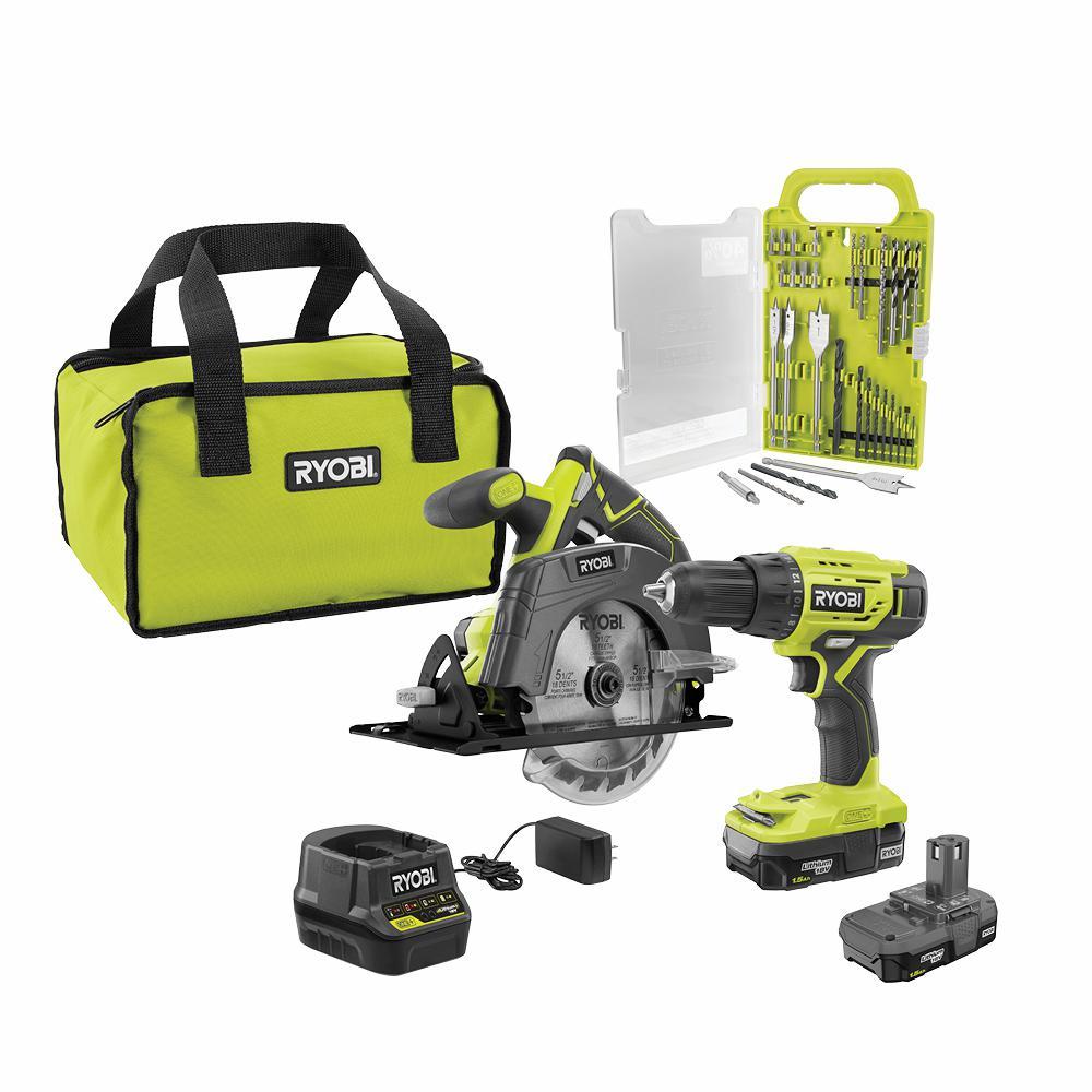 18-Volt ONE+ Cordless 2-Tool Combo Kit w/ Drill/Driver, Circular Saw w/ BONUS Black Oxide Drill & Drive Kit (31-Piece)