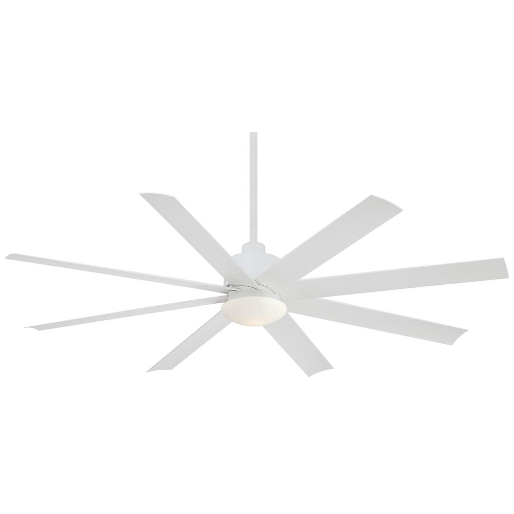 Minka-Aire Slipstream 65 in. Integrated LED Indoor/Outdoor Flat White Ceiling Fan with Light with Remote Control