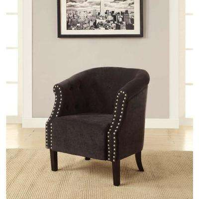 Tyrone Charcoal Microfiber Tufted Arm Chair