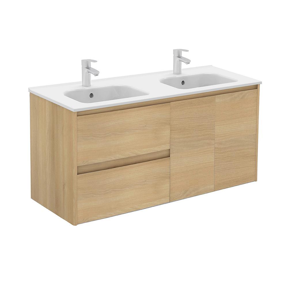 Ambra 47.5 in. W x 18.1 in. D x 22.3 in. H Bathroom Vanity in Nordic Oak with Vanity Top and Basin in White