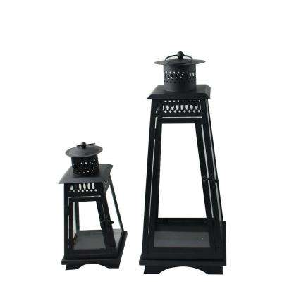 12 in. and 20 in. Metal Contemporary Lanterns in Black (2-Pack)