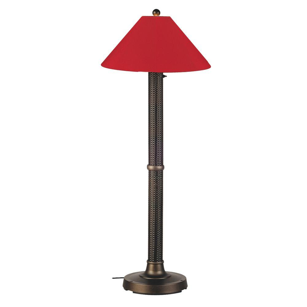 Patio Living Concepts Bahama Weave 60 in. Dark Mahogany Floor Lamp with Jockey Red Shade