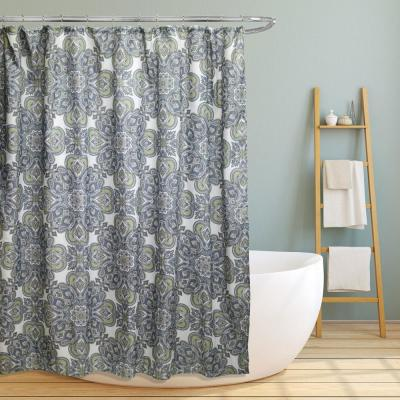 Jenna 70 in. Floral Scroll Medallion Canvas Shower Curtain