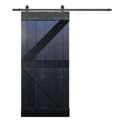 36 in. x 84 in. K-Style Knotty Pine Wood DIY Sliding Barn Door with Hardware Kit
