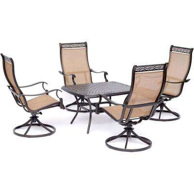 Manor 5-Piece Aluminmum Patio Conversation Set with 4 Swivel Rockers and Cast-Top Coffee Table