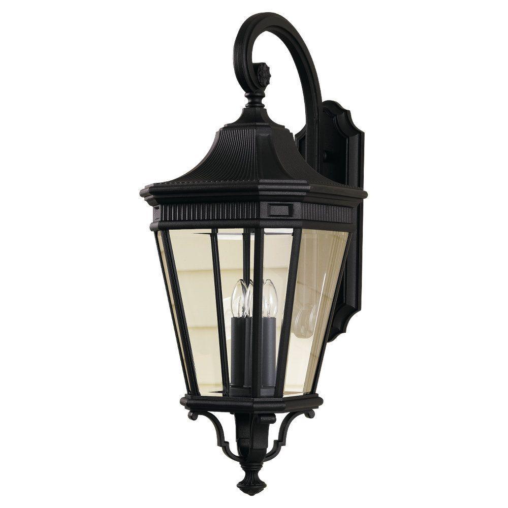 Cotswold Lane 3-Light Black Outdoor 30 in. Wall Lantern
