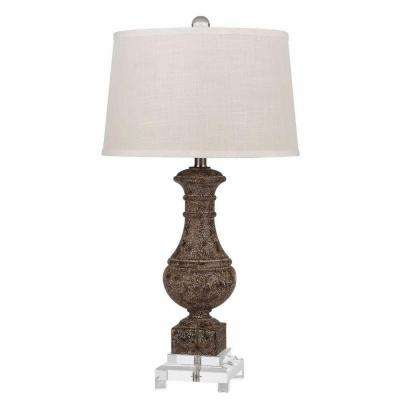 30 in. Sable Resin Table Lamp with Crystal Base