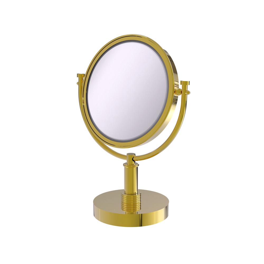 8 in. Vanity Top Make-Up Mirror 5X Magnification in Polished Brass