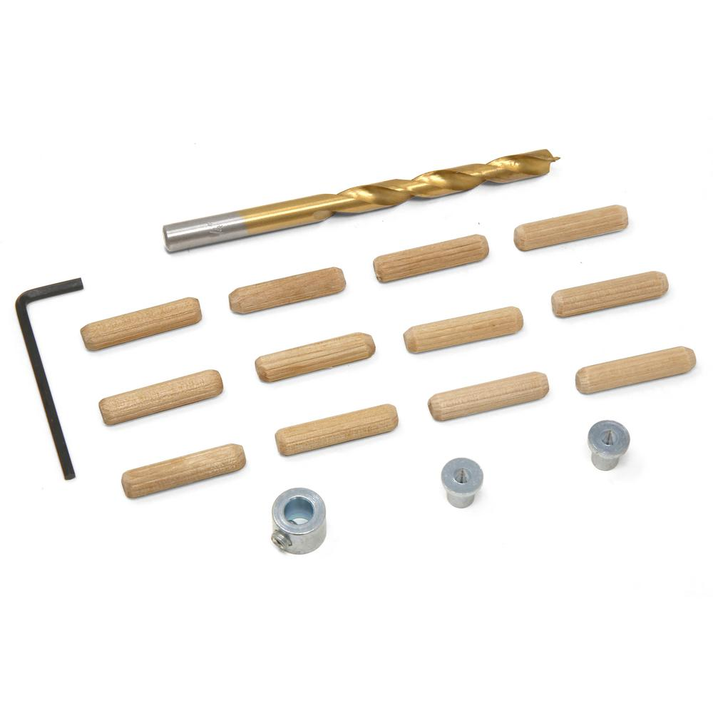 WEN WEN 1/4 in. Wooden Doweling Kit with Drill Bit, Stop Collar and Fluted Birch Wood Dowels
