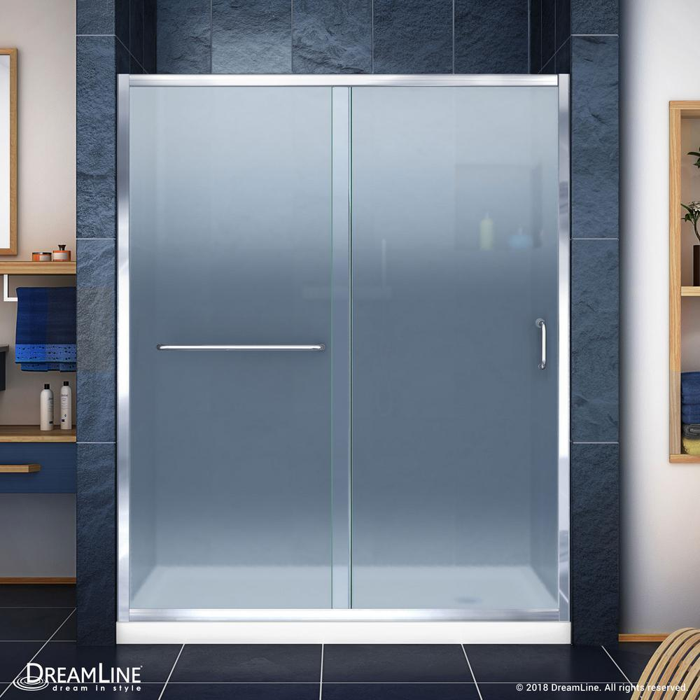 DreamLine Infinity-Z 36 in. x 60 in. Semi-Frameless Sliding Shower Door in Chrome with Right Drain White Acrylic Base